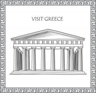 Väggdekor Akropolis i Aten, Grekland. Besöka Grekland kort. Prydnads traditionell grekisk vektor ram.