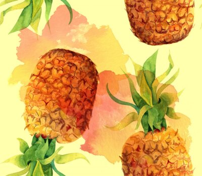 Väggdekor Akvarell ananas seamless bakgrundsmönster