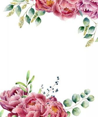 Väggdekor Akvarell blommig kort isolerad på vit bakgrund. Vintage stil bukett set med eukalyptus grenar, pion, bär, grönska och blad. Blomma handmålade konstruktion