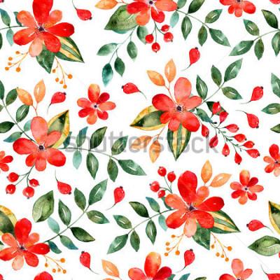 Väggdekor Akvarell blommig sömlös mönster med röda blommor och leafs.Colorful blommig illustration. Höst eller sommar handgjord design för inbjudan, bröllop eller gratulationskort, kan användas för bakgrundsbil