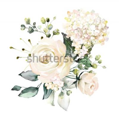 Väggdekor akvarell blommor. blommig illustration, blad och knoppar. Botanisk sammansättning för bröllop eller gratulationskort. gren av blommor - abstraktionsrosor, hortensia