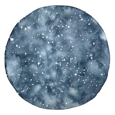 Väggdekor Akvarell cirkel backround av en nattsky