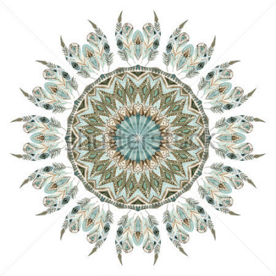 Väggdekor Akvarell etniska fjdrar abstrakt mandala. Viktigaste med utsmyckade fjädrar med geometriska element isolerade på vit bakgrund. Handmålade-illustration för boho, stamdesign