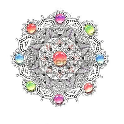 Väggdekor Akvarell färgglad mandala med juvelstenar. Vackra vintage runda mönster. Handritad abstrakt bakgrund. Inbjudan, t-shirttryck, bröllopskort. Dekor för din design i orientalisk stil.