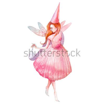 Väggdekor Akvarell fe illustration. Handmålade saga karaktär nya på vit bakgrund. Tecknad tjej med vingar konst