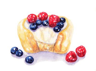 Väggdekor Akvarell frukt tårta cheesecake med bär på vit bakgrund