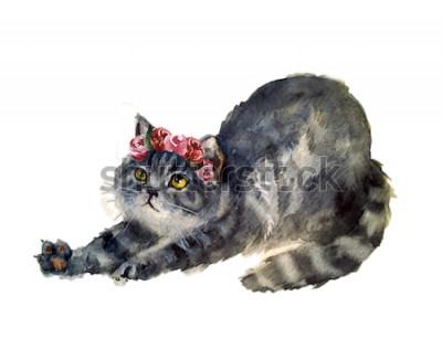 Väggdekor Akvarell gullig katt med blommor