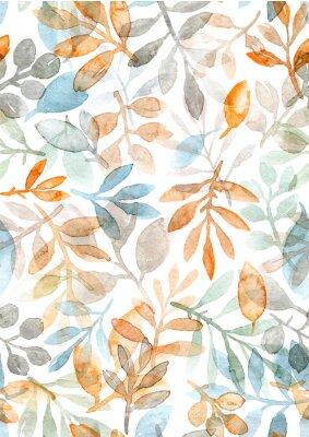 Väggdekor akvarell handmålade löv och grenar. sömlöst mönster på en vit bakgrund