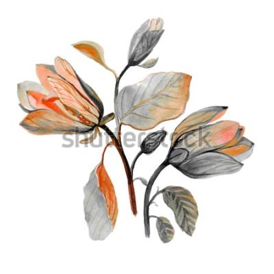 Väggdekor Akvarell handritad vacker magnoliablomma. Sammansättning av höstgröna blommor. Höstbukett.