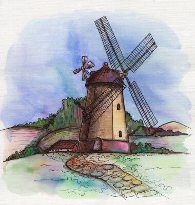 Väggdekor akvarell handritad väderkvarn i Holland