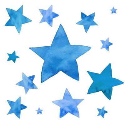 Väggdekor Akvarell illustration av blå stjärnor uppsättning