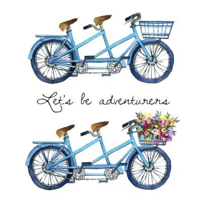 Väggdekor Akvarell illustration av en tandem cyklar