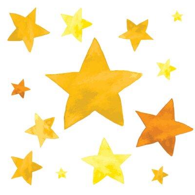 Väggdekor Akvarell illustration av gula stjärnor uppsättning