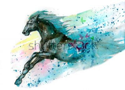 Väggdekor Akvarell illustration av häst. Ritad för hand