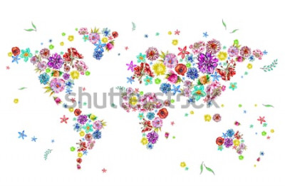 Väggdekor Akvarell illustration av världskarta i blommor