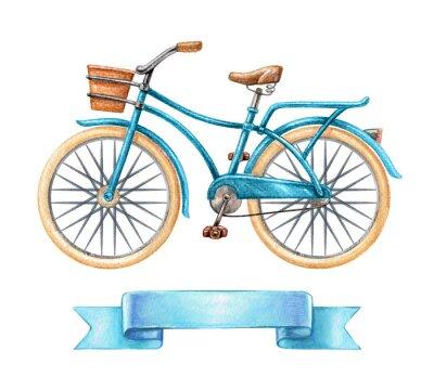 Väggdekor Akvarell illustration, blå cykel, retro cykel, blank band tag, banner, etikett, transport clip art isolerad på vit bakgrund