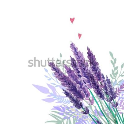 Väggdekor Akvarell lavendelbukettbakgrund. Ram med handmålade vintageväxter, blommig dekor och hjärtan. Vektorillustration.