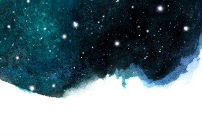 Väggdekor Akvarell nattsky bakgrund med stjärnor. kosmisk layout med plats för text.
