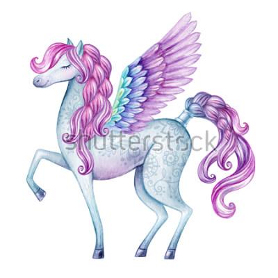 Väggdekor akvarell pegasus illustration, saga varelse, flygande, magisk djur clip art, isolerad på vit bakgrund