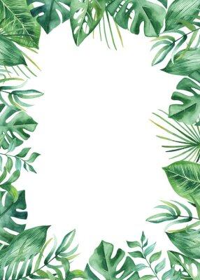 Väggdekor Akvarell ram med tropiska blad och blommor, akvarell fläckar. Gyllene, runda, polygonala mönster för kort, inbjudningar, bröllop och sommar design.