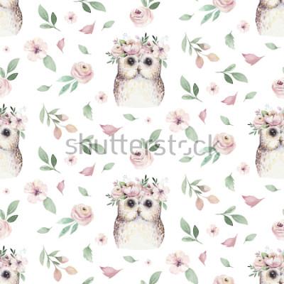 Väggdekor Akvarell Seamless hand illustrerad blommönster med blommigt löv, rosa blommor och liten babyuggla. Akvarell boho våren tapet botanisk bakgrund textil