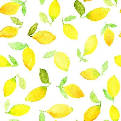 Väggdekor Akvarell seamless med gula citroner. Kan användas för omslagspapper, bakgrund födelsedag, mors dag och någon semester.