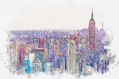 Väggdekor Akvarell skiss eller illustration av en vacker utsikt över New York City med urbana skyskrapor. Stadsbild eller stadshorisont.