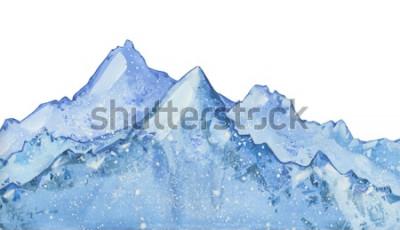 Väggdekor akvarell snöig blå vinter topp. Handritad vinterillustration på vit bakgrund.