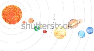 Väggdekor Akvarell solsystem. Sol och planeter (Merkurius, Venus, Jorden, Mars, Jupiter, Saturnus, Uranus, Neptun) på vit bakgrund.