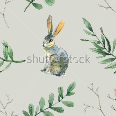 Väggdekor Akvarell sömlös mönster med kaniner, löv och grenar kommer att vara bra för presentförpackning, rådgivningsdesign, plats och hälsningskort bakgrund och etc.