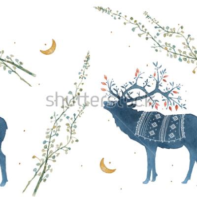 Väggdekor Akvarell sömlös mönster med skandinaviska element, grenar, gräsblad.