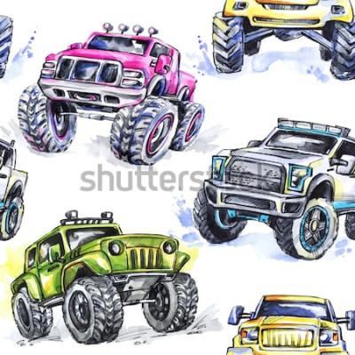 Väggdekor Akvarell sömlösa mönster Cartoon Monster Trucks. Färgrik extrem sportbakgrund. 4x4. Fordon SUV Off Road. Livsstil. Mans hobby.