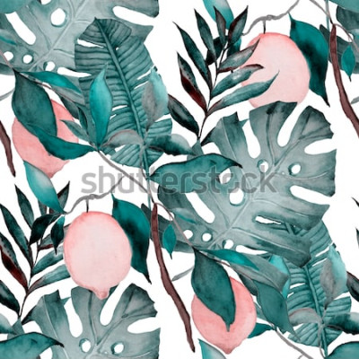 Väggdekor Akvarell sömlösa mönster med tropiska blad och citrusfrukter. Mode botaniskt tryck.