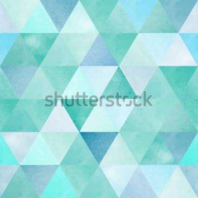 Väggdekor akvarell sömlösa mönster med vintage geometrisk triangel