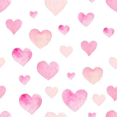 Väggdekor Akvarell sömlösa vektor mönster med hjärtan för Alla hjärtans dag
