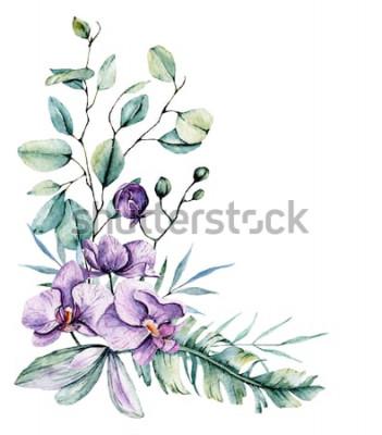 Väggdekor Akvarell tropiska blommor, kant med blad och orkidéer. Botanisk målning, arrangemang för bröllopskort, hälsningar, bakgrunder, inbjudan, blogg etc. Isolerat på vitt.