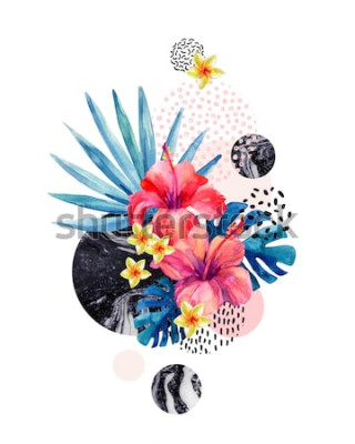 Väggdekor Akvarell tropiska blommor på geometrisk bakgrund med marmorering, klottertexturer. Handritad blomma med fläktpalm, monstera blad, geometriska former i minimal stil. Akvarell konstillustration