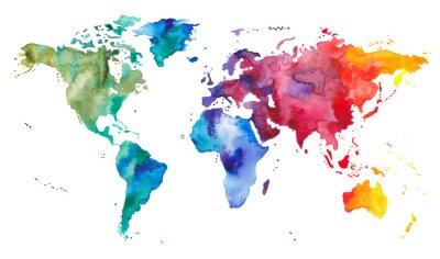 Väggdekor Akvarell världskarta
