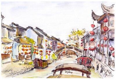 Väggdekor Akvarell - vatten kanalen i gamla stan i Kina. Röda lyktor.