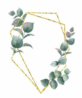 Väggdekor Akvarell vektor komposition från grenarna av eukalyptus och guld geometrisk ram.