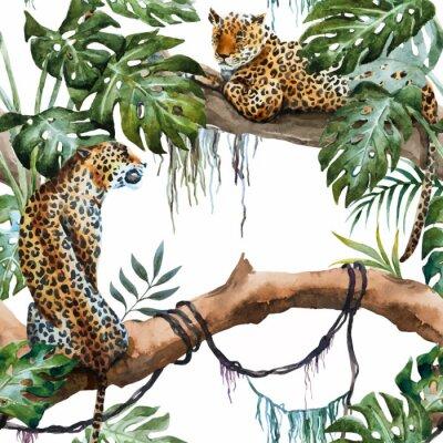 Väggdekor Akvarell vektor leopardmönster