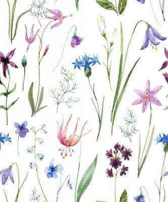 Väggdekor Akvarell vildblommönster