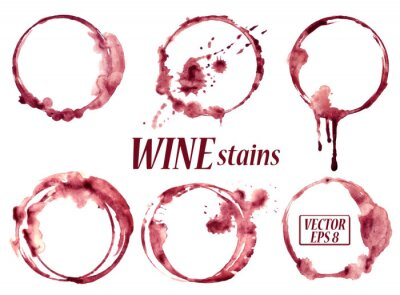 Väggdekor Akvarell vin fläckar ikoner