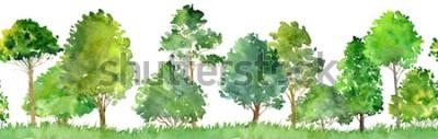 Väggdekor akvarellandskap med lövträd, tall, buskar och gräs, sömlösa mönster, abstrakt naturbakgrund, skoggräns, handritad illustration
