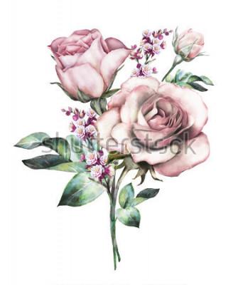 Väggdekor akvarellblommor. blommig illustration, blomma i pastellfärger, rosa ros. gren av blommor igen på vit bakgrund. Blad och knoppar. Gullig komposition för bröllop eller hälsningskort. bukett