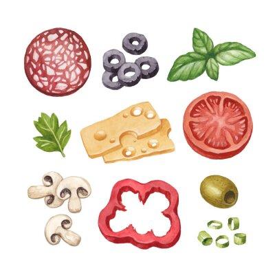 Väggdekor Akvarellillustration av livsmedelsingredienser
