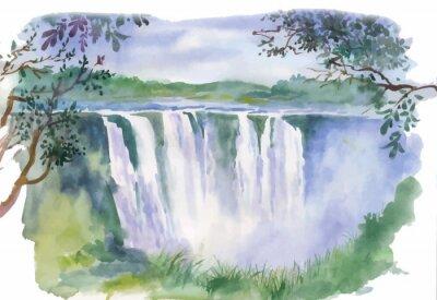 Väggdekor Akvarellillustration av vackert vattenfall