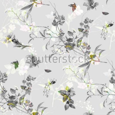 Väggdekor Akvarellmålning av löv och blommor, sömlöst mönster på grå bakgrund