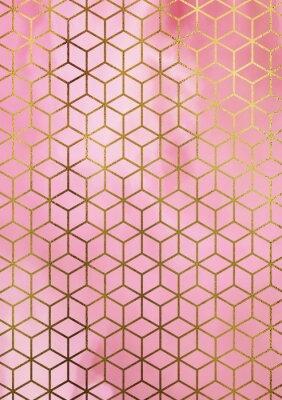 Väggdekor Akvarellmarmor bakgrund med geometriskt kubmönster.
