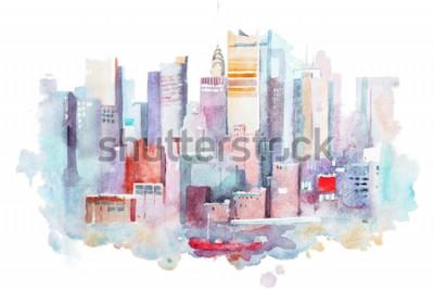 Väggdekor akvarellritning av stadsbilden i New York, USA. Manhattan akvarellmålning